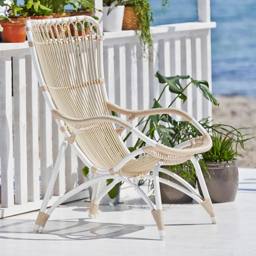 Gepatineerde witte Monet fauteuil Sika-Design