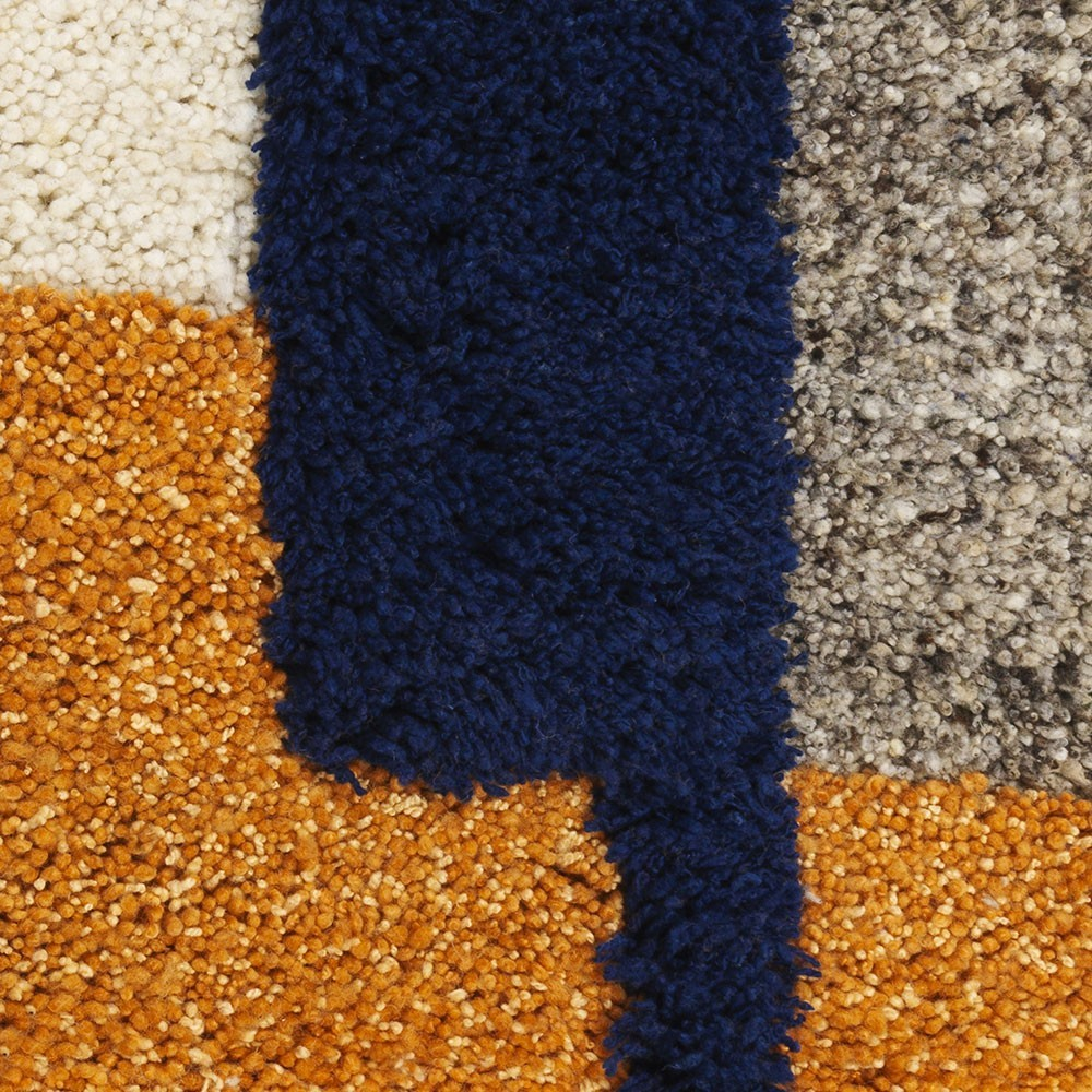 Nudo vloerkleed S blauw / oranje / oker ames
