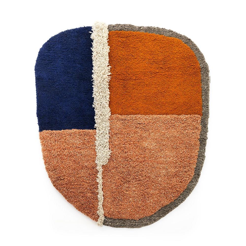 Tapis Nudo L bleu/orange/ocre ames