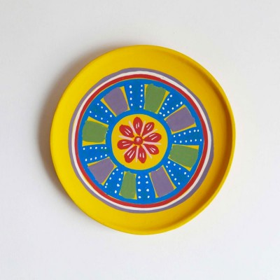 Small hand-painted wooden plate yellow