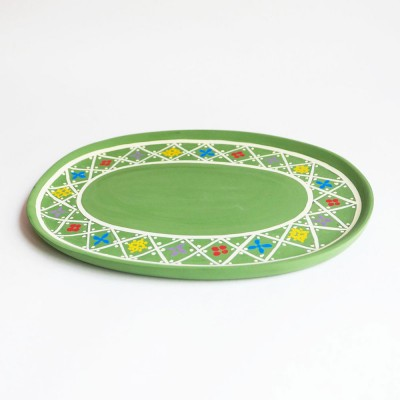 Small hand-painted wooden tray green
