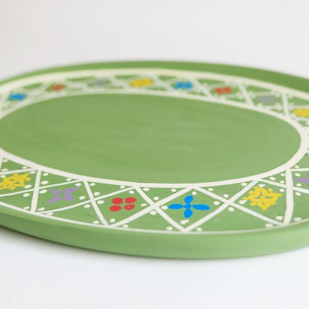 Small hand-painted wooden tray green Datcha