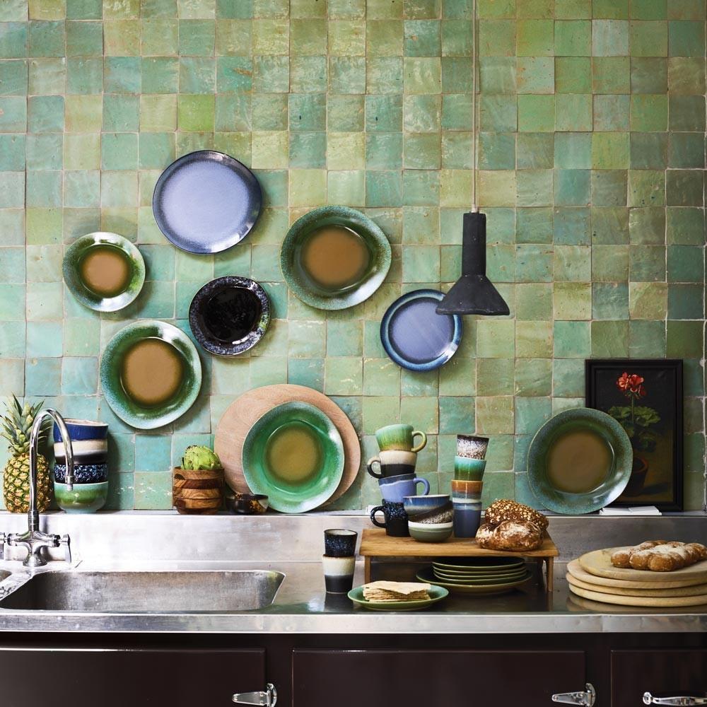 Ceramic 70's side plate green Ø29cm (set of 6) HKliving