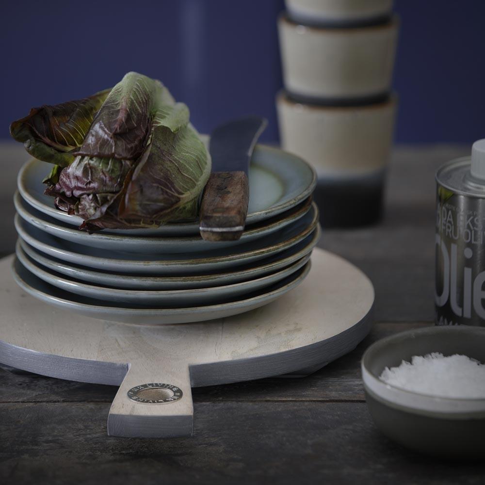 Ceramic 70's dessert plate moss Ø17,5 cm (set of 6) HKliving