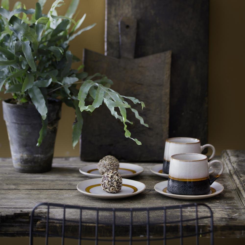 70's keramiek dessertbord sneeuw Ø17,5 cm HKliving