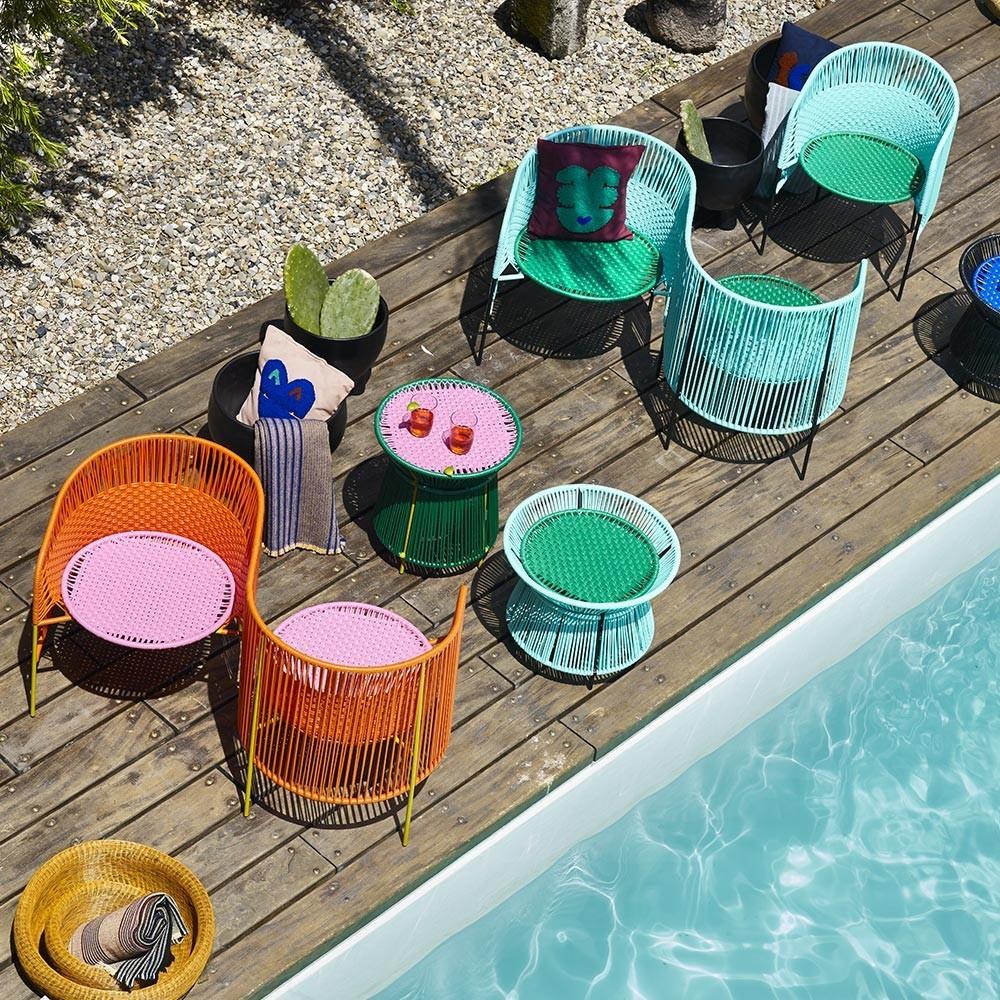 Caribe fauteuil oranje / roze / curry ames