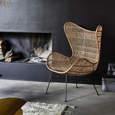 Bohemian rattan armchair natural HKliving