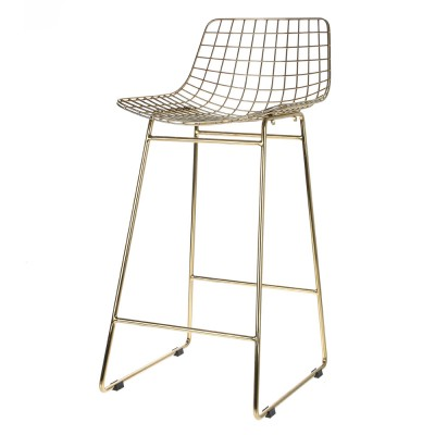 Wire bar stool brass HKliving