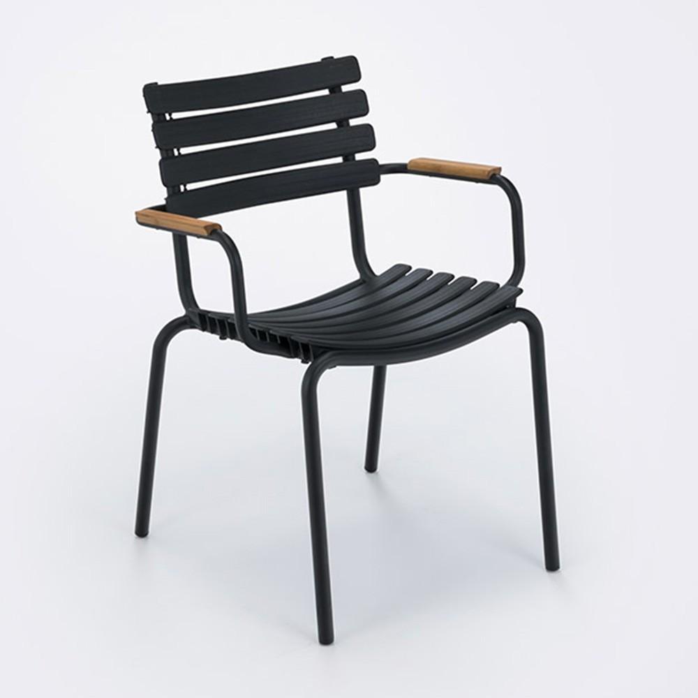 Clips stoel zwart bamboe armleuningen Houe