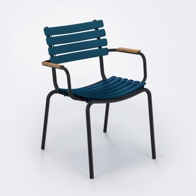 Clips stoel met bamboe armleuningen nachtblauw Houe