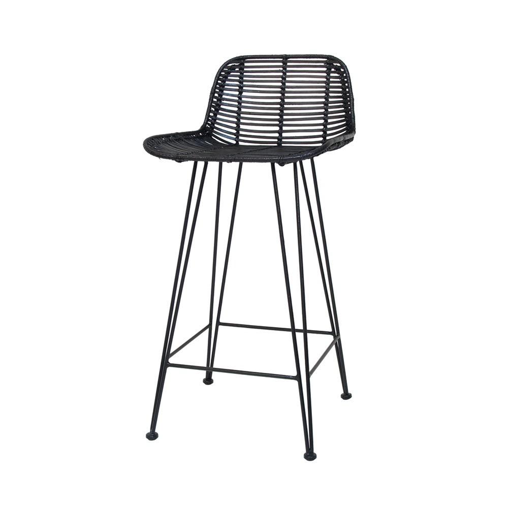 Rattan bar stool black HKliving