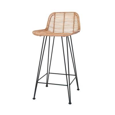 Rattan bar stool natural