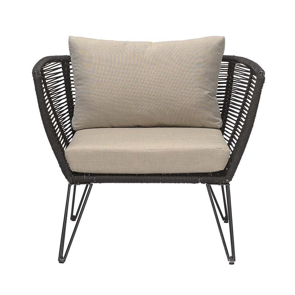 Mundo rope armchair black & taupe Bloomingville