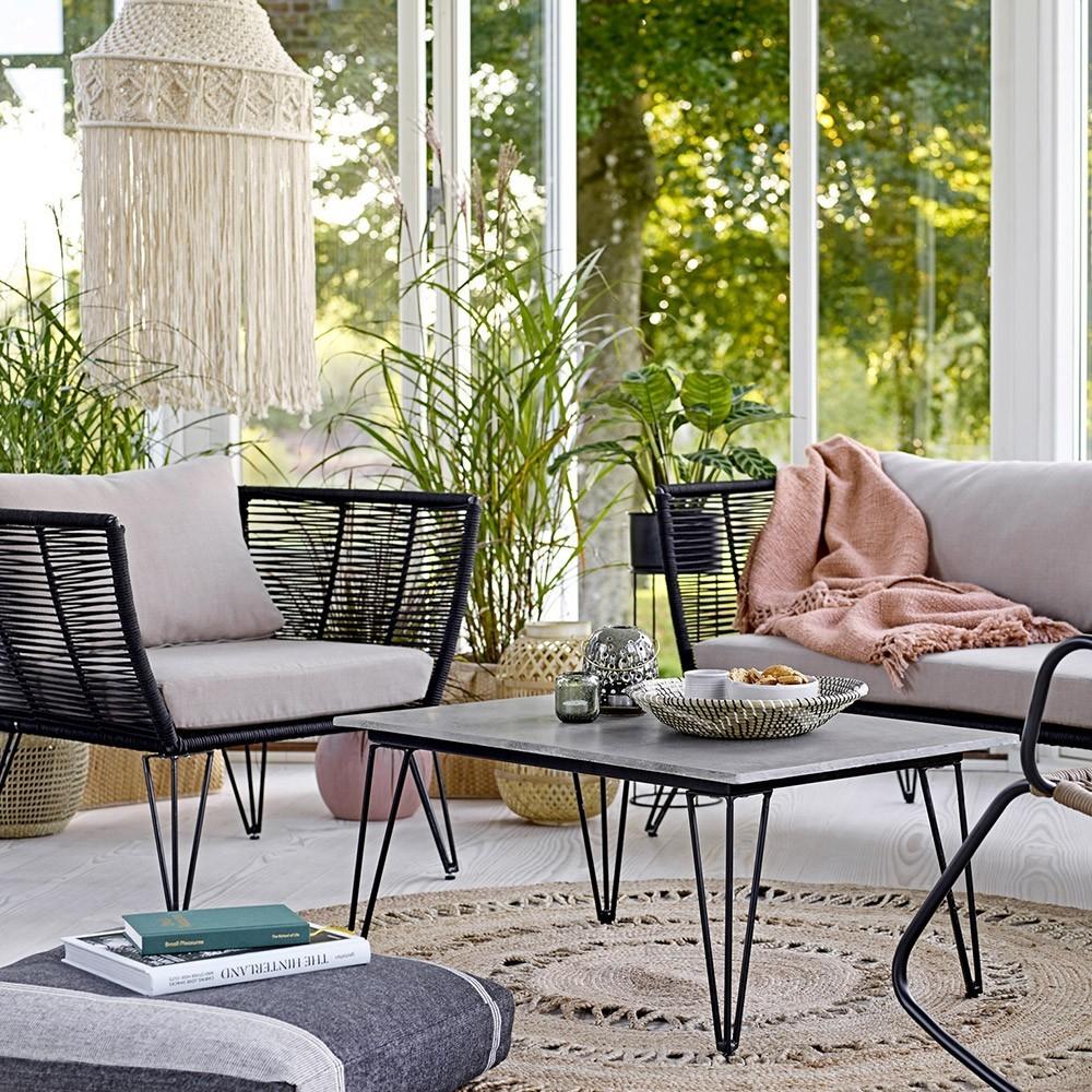 Mundo fauteuil zwart touw & taupe Bloomingville