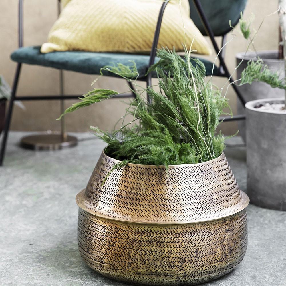 Rattan planter brass finish House Doctor