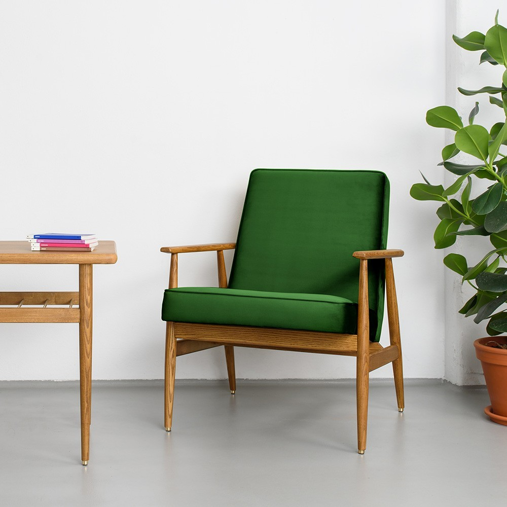 Chaise lounge Fox Velours vert bouteille 366 Concept