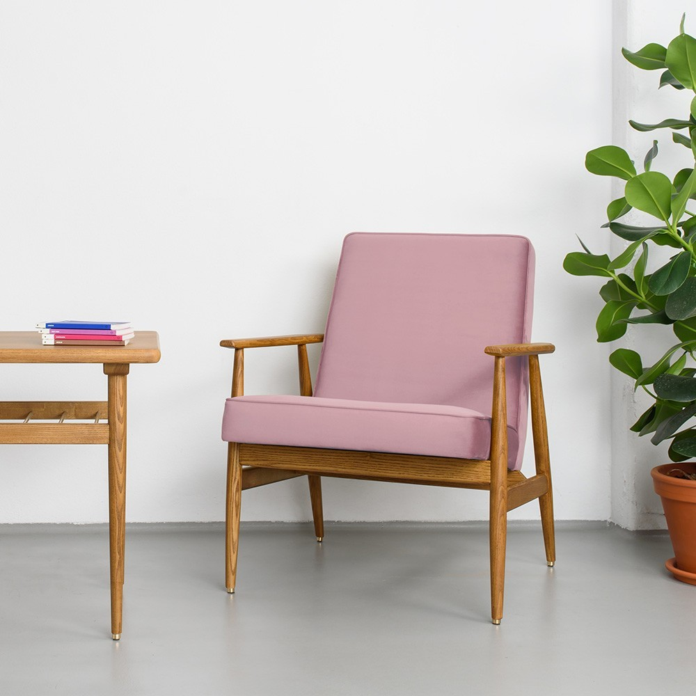 Fox fluwelen loungestoel poederroze 366 Concept
