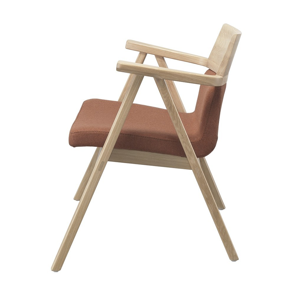 Fauteuil Lounge Pensil terracotta & chêne Wewood