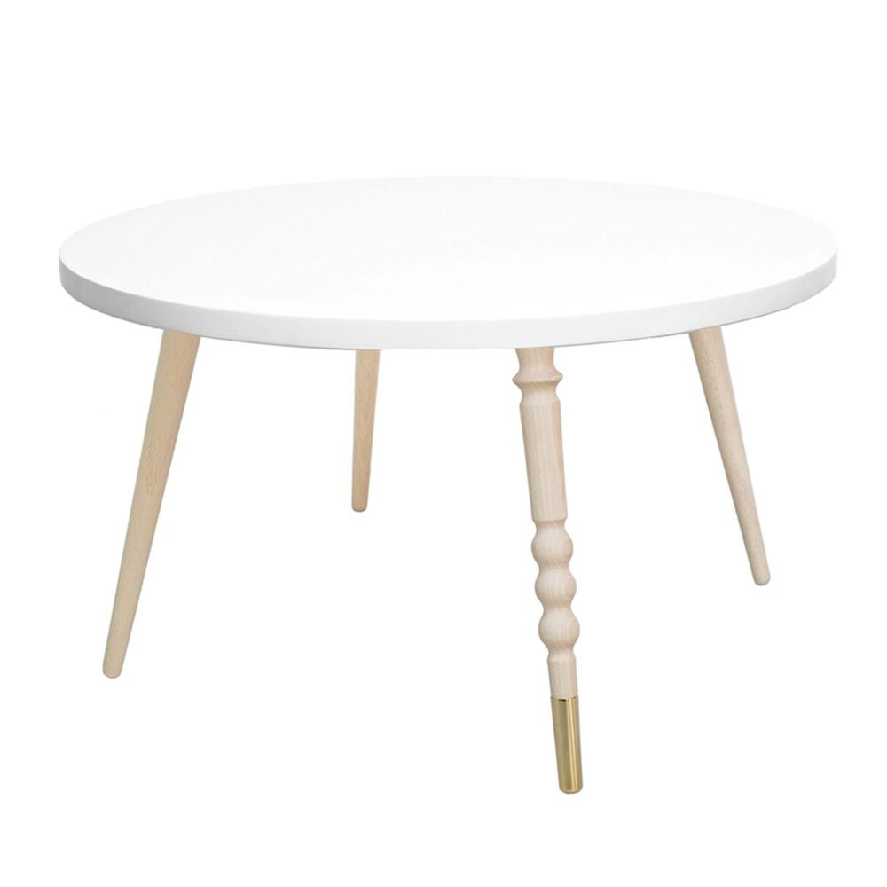 Table basse ronde My lovely ballerine blanc & hêtre M Jungle by Jungle