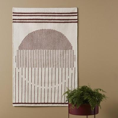 Raining Circle rug burgundy L Woud