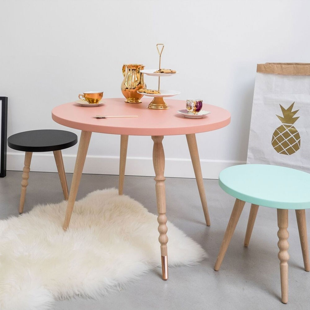 Round coffee table My lovely ballerine white & beech L Jungle by Jungle