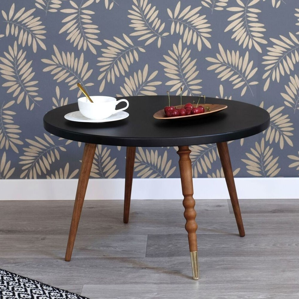 Round coffee table My lovely ballerine blue & walnut M Jungle by Jungle