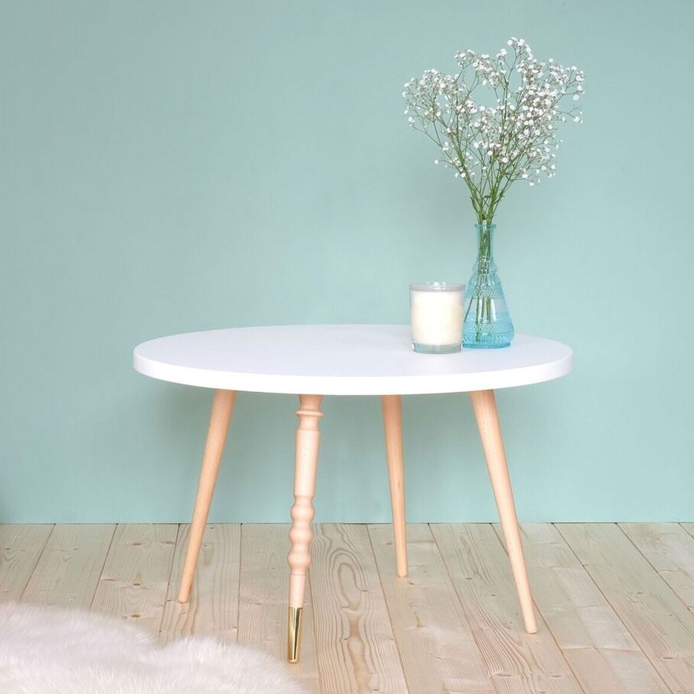 Table basse ronde My lovely ballerine bleu & hêtre M Jungle by Jungle