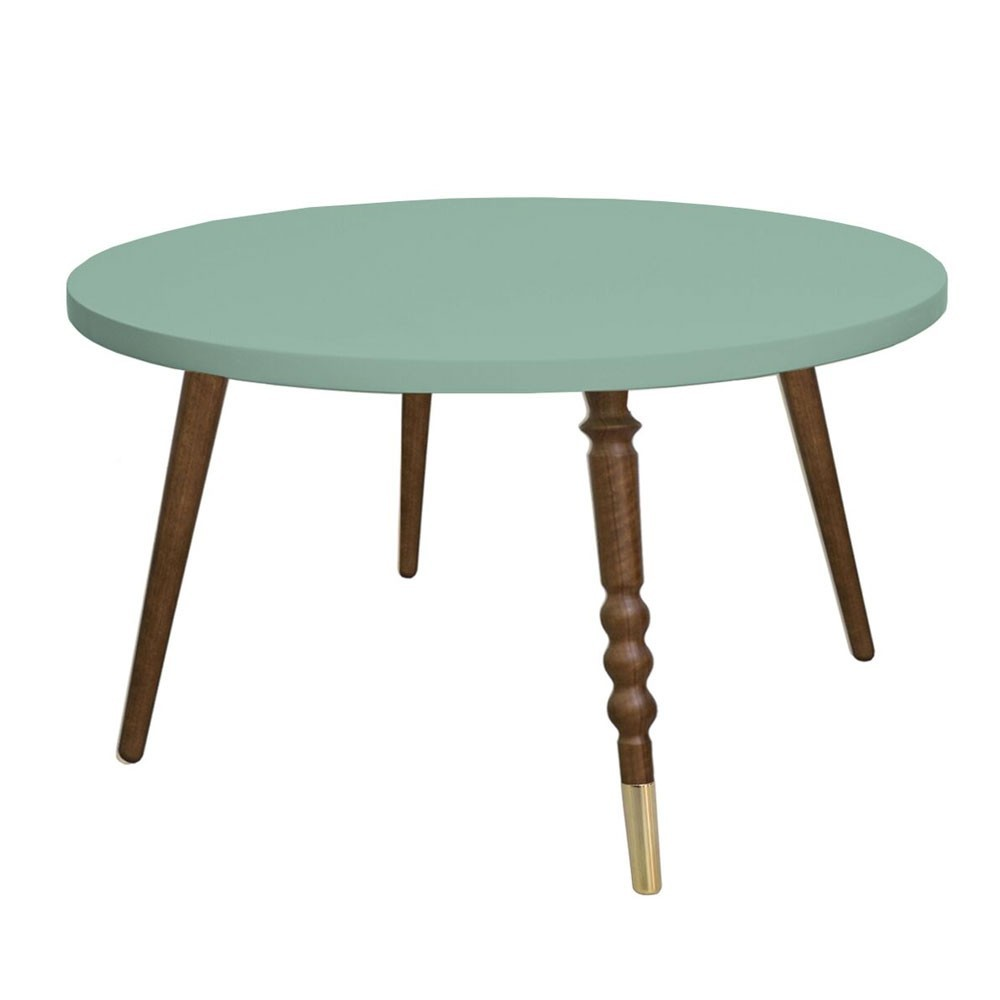 Round coffee table My lovely ballerine celadon green & walnut M Jungle by Jungle