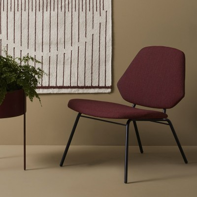 Lounge chair Lean burgundy Woud