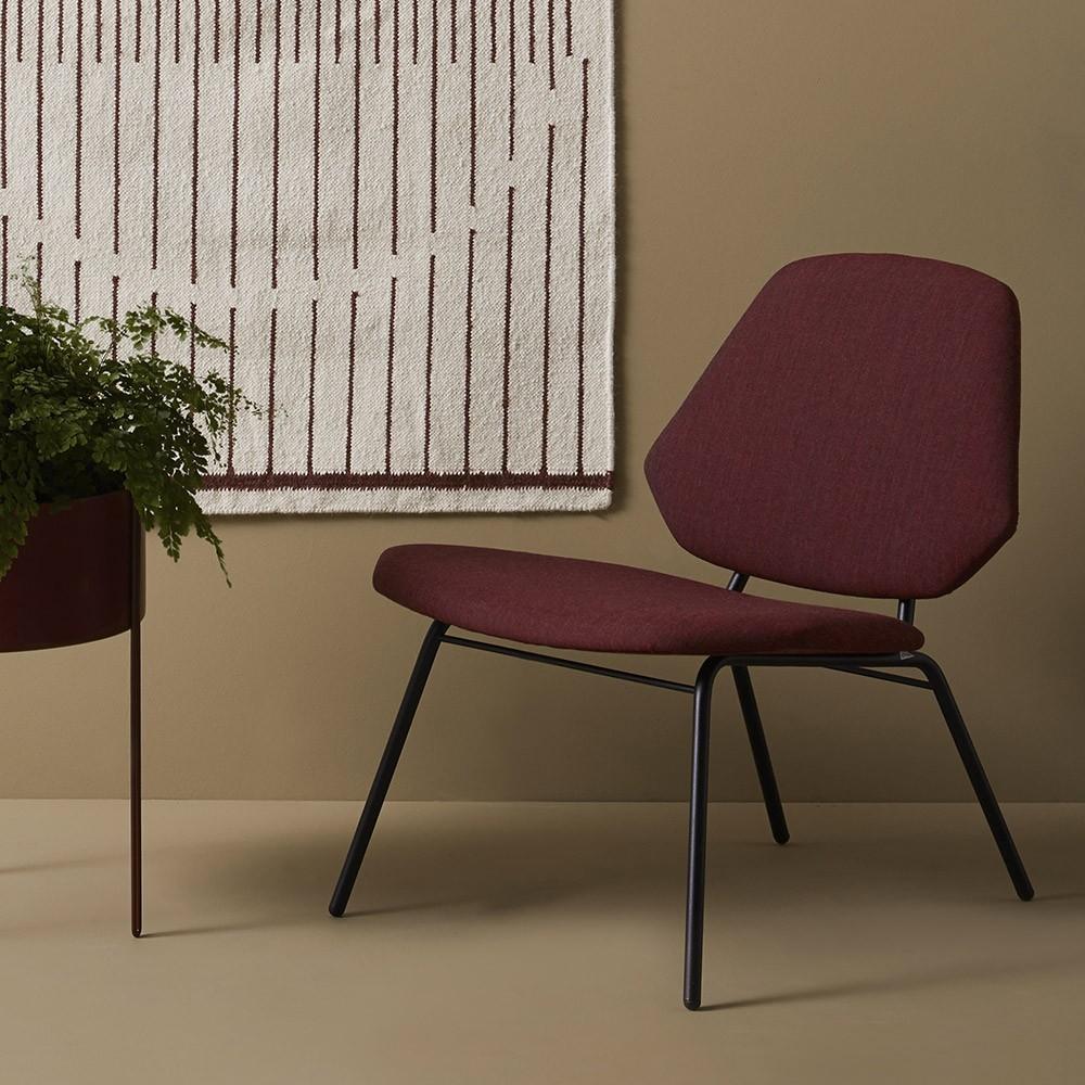 Lounge chair Lean burgundy Woud