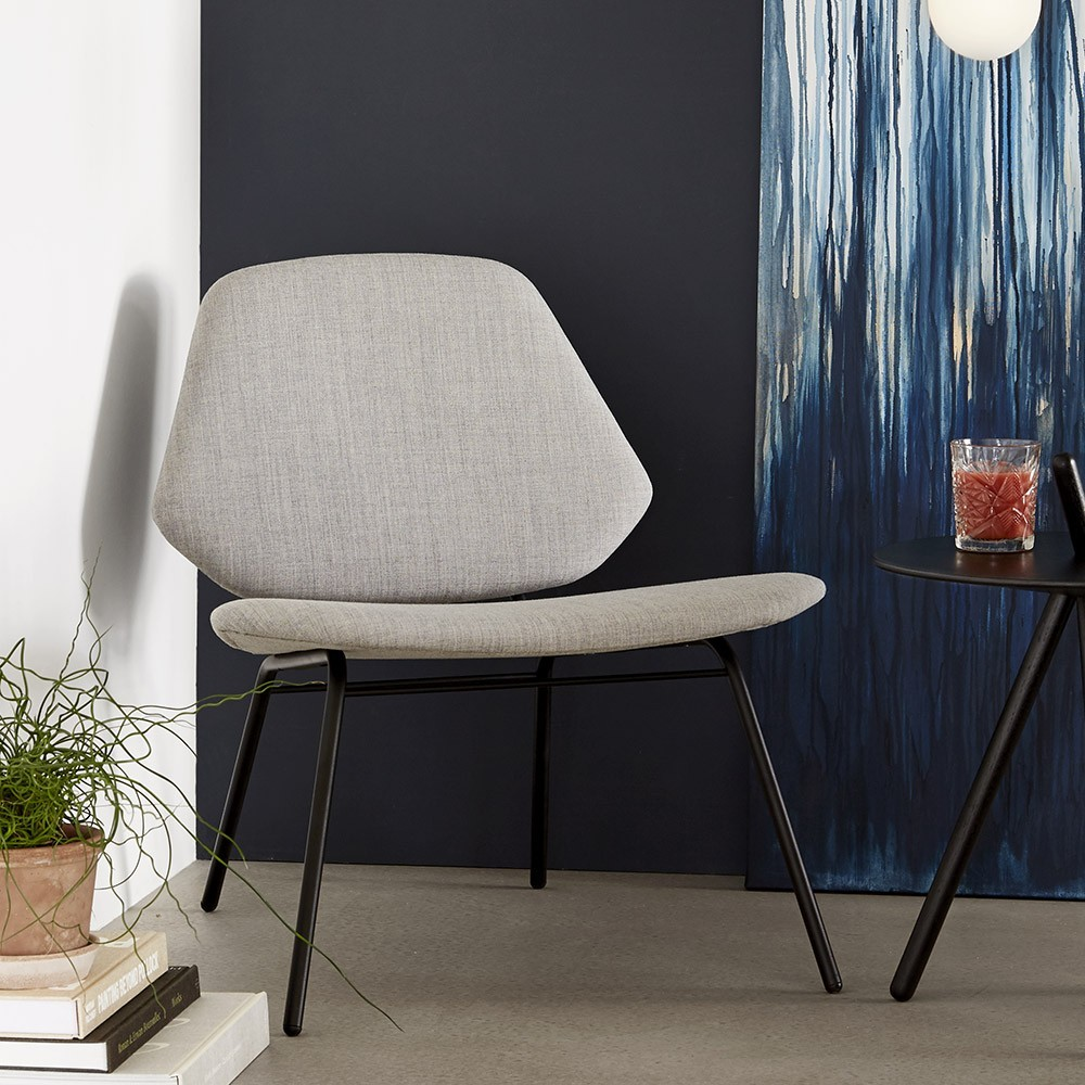 Lounge chair Lean grey Woud