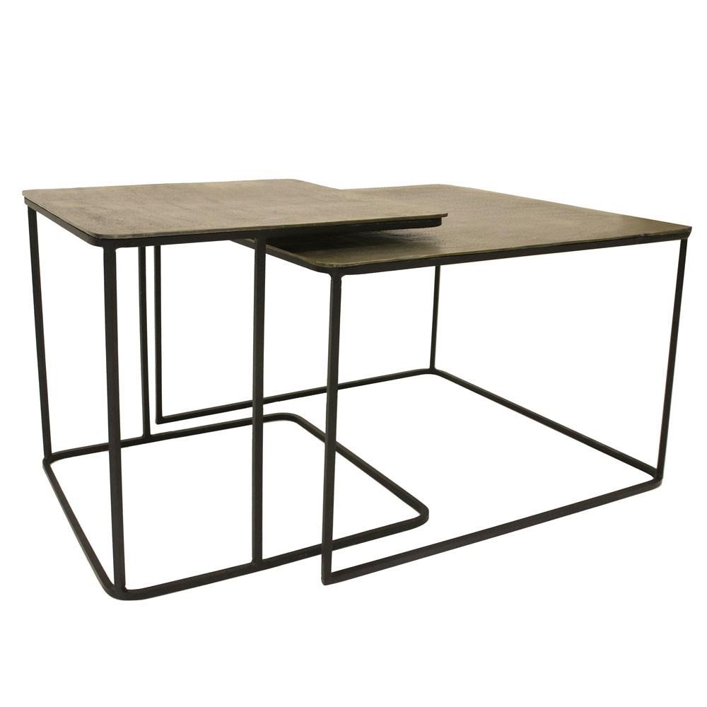 Set de 2 tables basses en métal & laiton HKliving