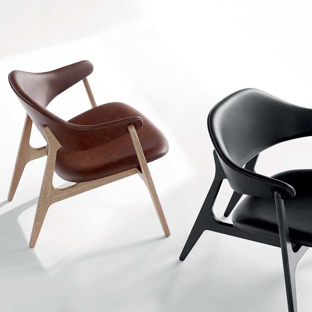 Spän lounge chair black Camo leather Houe