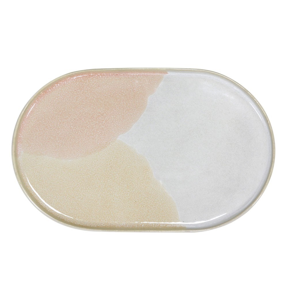 Gallery oval side plate pink & nude HKliving