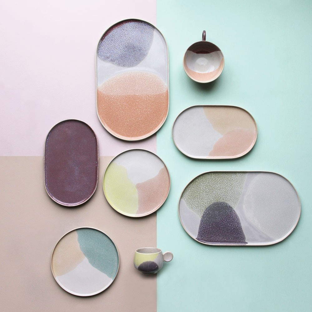 Gallery oval side plate L green & lilac HKliving