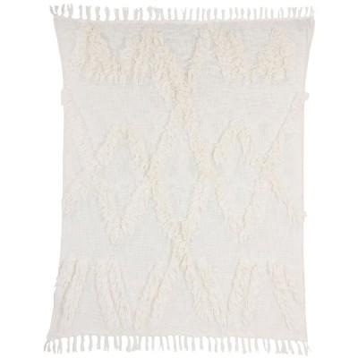 Couverture à franges blanc