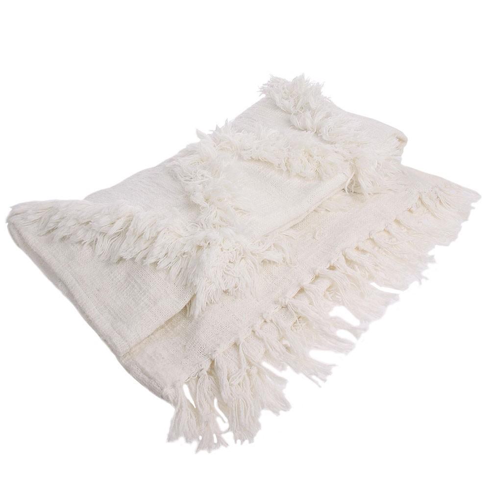 Witte deken met franjes HKliving