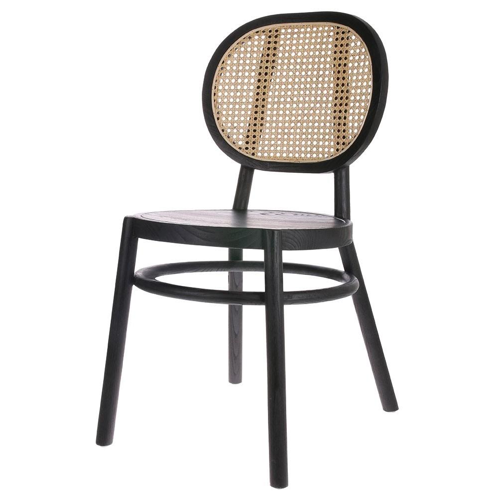Retro stoel in riet en zwart hout HKliving
