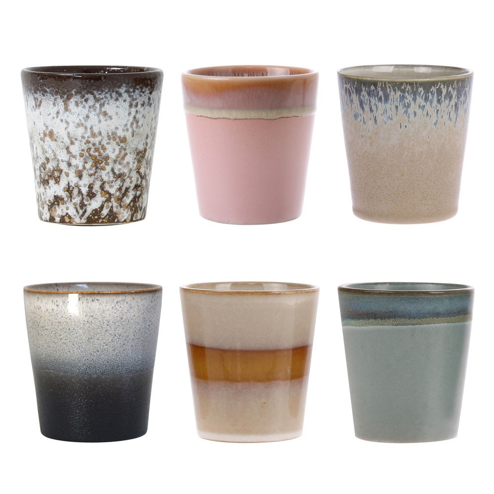 Ceramic 70's mugs (set of 6) HKliving