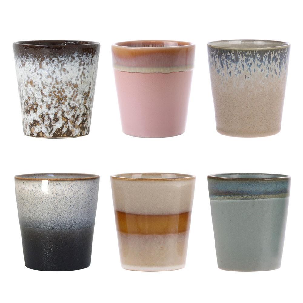 Mugs en céramique 70's (lot de 6) HKliving