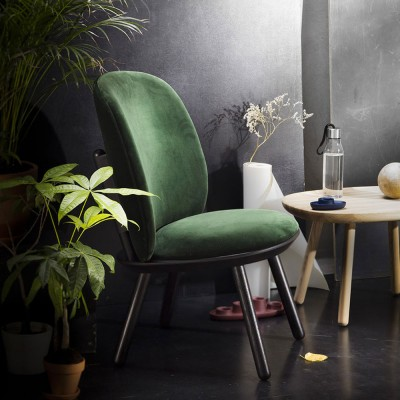 Naïve low chair bottle green velvet Emko