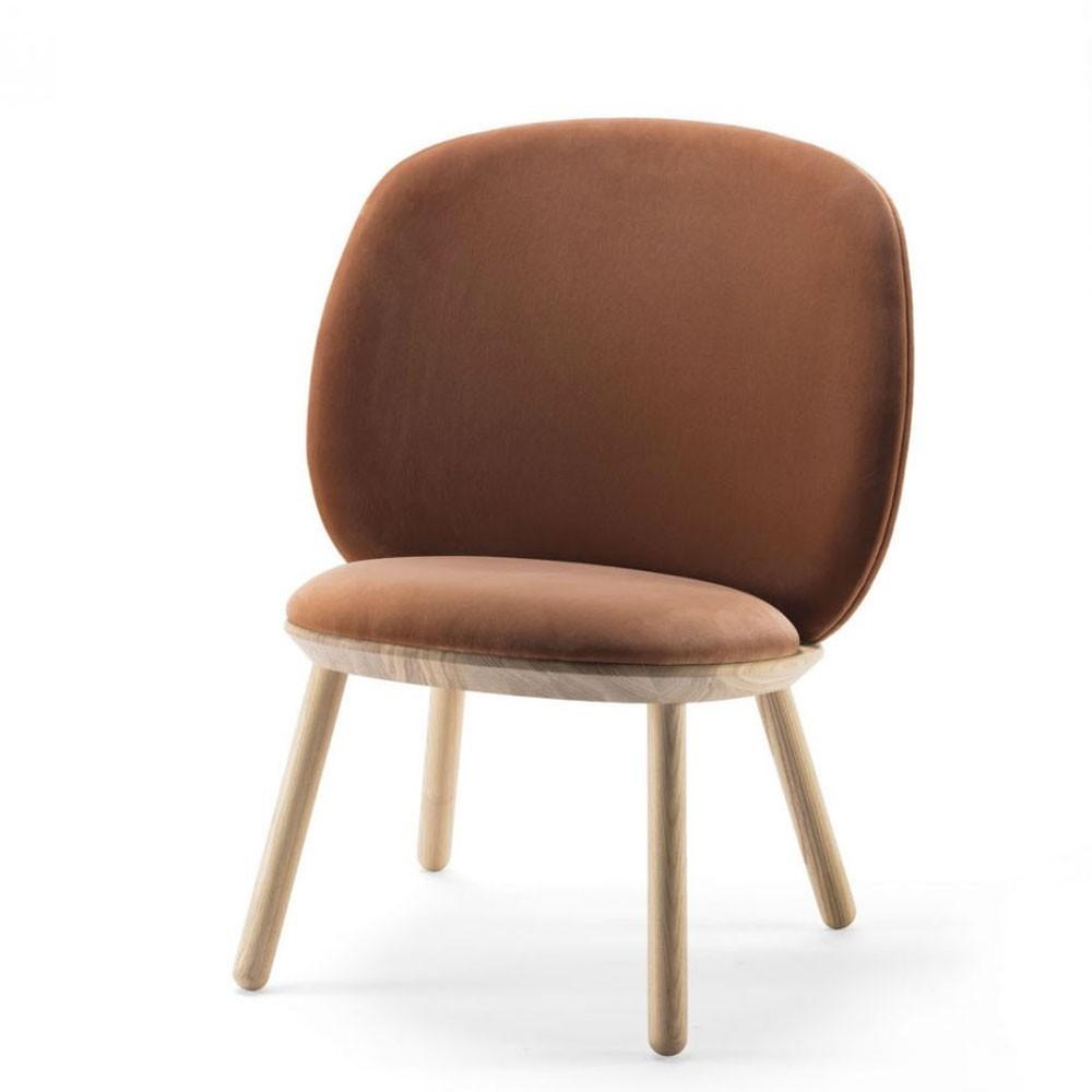 Naïeve lage stoel terracotta fluweel Emko