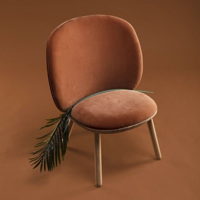Naïve low chair terracotta velvet Emko
