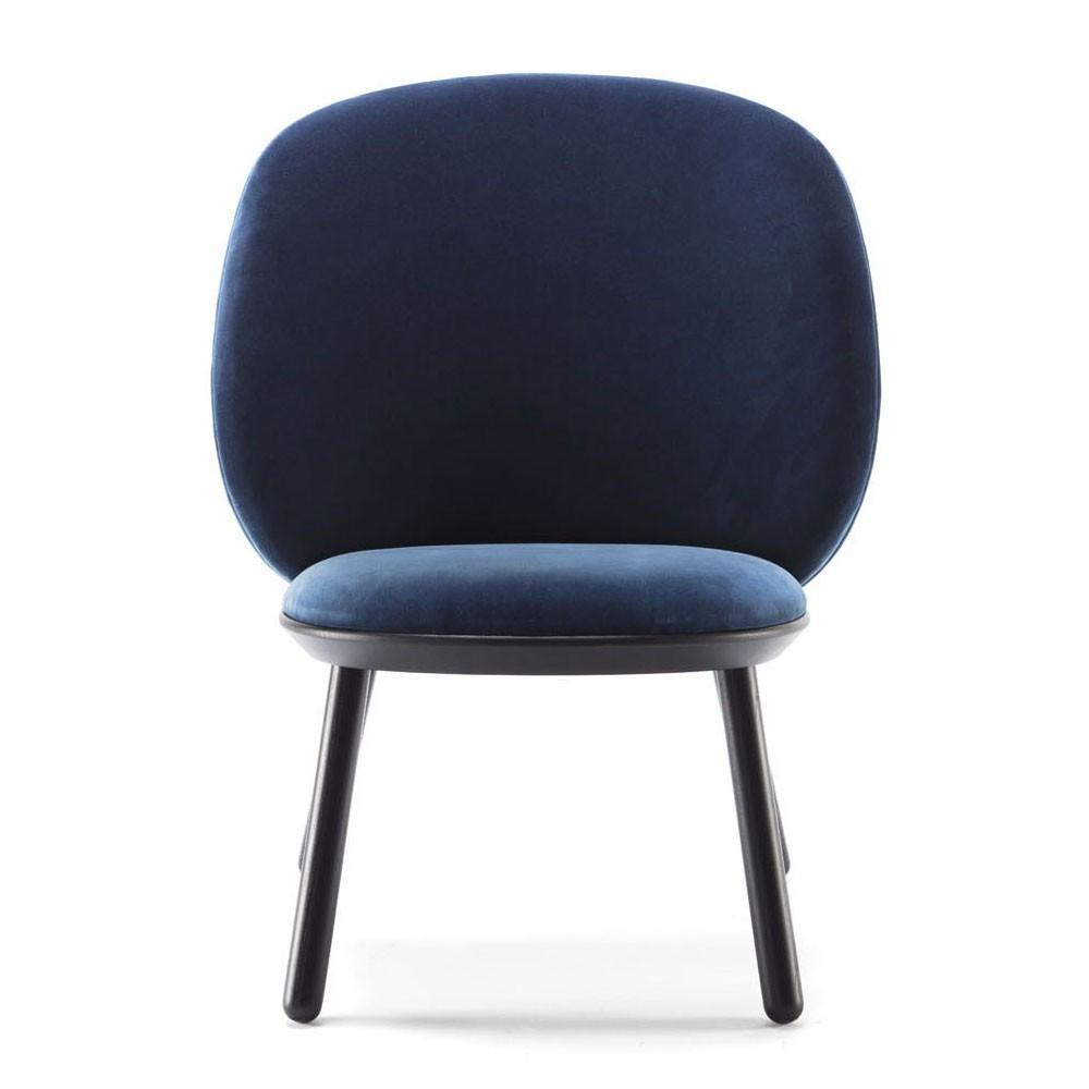 Chaise basse Naïve velours bleu royal Emko