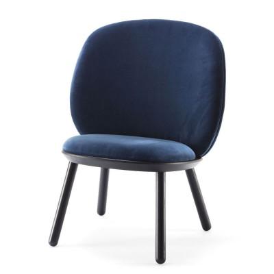 Naïeve lage stoel koningsblauw fluweel Emko