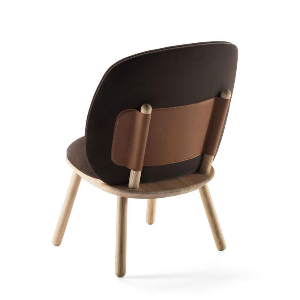 Naïeve lage stoel bruin fluweel Emko
