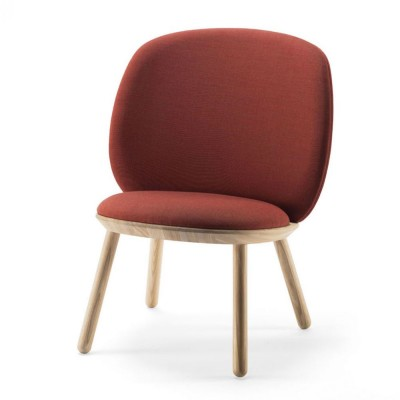 Naïve low chair cognac kvadrat Emko