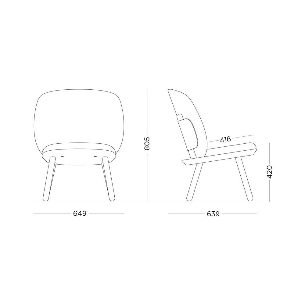 Naïve low chair cognac kvadrat Emko