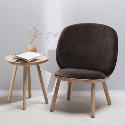 Naïve low chair brown velvet Emko