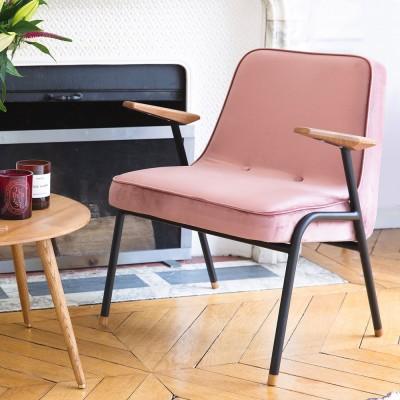 366 Poederroze fauteuil van metaalfluweel 366 Concept